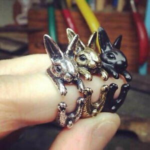 Vintage Rabbit Mid Finger Knuckle Opening Ring Couples Jewelry Birthday Gift LE