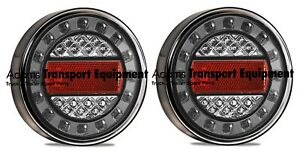 LED Autolamps Black Chrome 2x MaxilampC1XRE Stop/Tail/Ind/Refl 12/24V 4WD/Truck