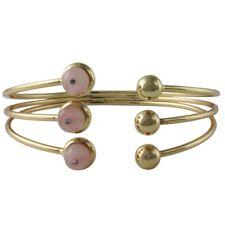 NEW Blush Pink Rose Quartz Stone Orb Bead Goldtone Split End Cuff Bracelet
