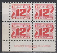 Canada #J36 12¢ CENTENNIAL POSTAGE DUE 2ND ISSUE LL PLATE BLOCK MNH