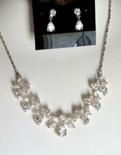 SPECIAL OCCASION & BRIDAL PLATINUM CLEAR CUBIC ZIRCONIA NECKLACE & EARRING SET