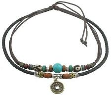 Surfer Tribal Hemp Black Leather Necklace Choker Mens Womens Adjustable #06
