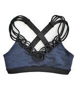 Beach Bunny Women's B/Fit In A Bind Blue Black Criss Cross Back Sports Bra Sz S