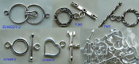 Sterling silver toggles clasps  925 sterling silver findings 5 styles closures