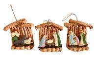 Vintage Set of 3 Nativity Scene Ornaments Manger Baby Jesus, Mary