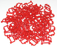 LEGO LOT OF 100 RED 1 X 4 X 2 MINIFIGURE FENCES WITH 2 STUDS BAR PIECES