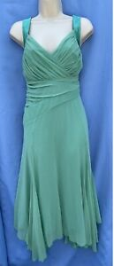 Next Size 14 Green Fit & Flare Lined Thick Straps Hidden Zip Long Layered Dress