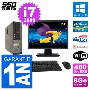 """PC Dell OptiPlex 790 SFF Ecran 19"""" i7-2600 RAM 8Go SSD 480Go Windows 10 Wifi"""