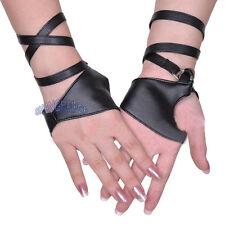Women/ladies Half Palm Strap Gloves Fingerless Pole Dancing Jazz Black Fashion