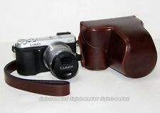 Leather case cover protect bag for Panasonic Lumix DMC-GX7 14-42 lens Dark Brown