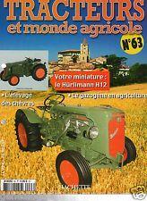 FASCICULE 63 FARM TRACTOR TRACTEUR MONDE AGRICOLE HURLIMANN H12 1951