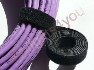 VELCRO STRAP CABLE TIE HOOK & LOOP BLACK 20mm WIDE 1m LENGTHS *GENUINE VELCRO*