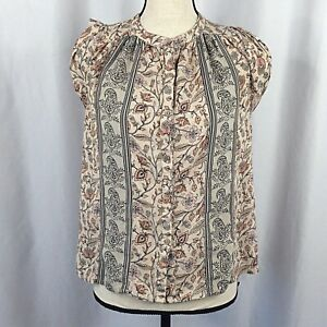 O'Neill Top Womens Small Beige Pink Floral Paisley Button Down Cap Sleeve Rayon