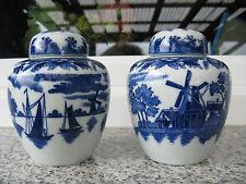 2 Pots à Thé Porcelaine Japonaise BÂTEAU  BLEUS MOULINS 13cm