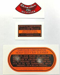 1937-1954 Chrysler, Dodge, DeSoto  Engine Decal Set!