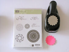Stampin' Up! Scallop Circle Punch & Lacy Lovely Rubber Cling Stamp Set - USED