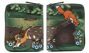 * New LOUNGEFLY DISNEY Ziparound Fold Wallet THE FOX AND HOUND Tod Copper Dog