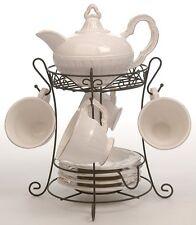 Set théière + 4 tasses et sous-tasses céramique crème sur présentoir