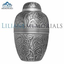 Grey, Pewter, Flowers, Leaves - Brass Funeral Cremation Urn,  Adult, 200 cub.In.