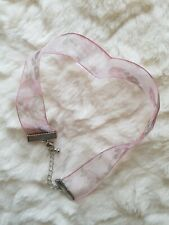 New Look Pink Floral Choker Faux Silver Chain Attachment
