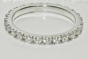 Sterling Silver Diamond Full Eternity Wedding Ring - All Sizes
