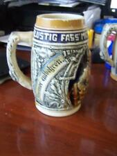 "2 antique GERMAN BEER STEIN 6 1/2""lustig fass mich 500 33, 500 32"