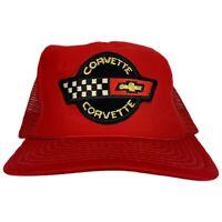 Vintage Chevy Corvette Trucker Hat Snapback Cap Red Hat Horizon USA Racing