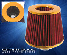 """3"""" WASHABLE  PERFORMANCE RACING SHORT RAM AIR INTAKE FILTER GOLD/RED FOR SUBARU"""