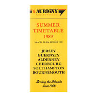 Aurigny Air Services - Airline Timetable - Summer Timetable 1989