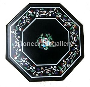 """12"""" Black Marble Coffee Top Table Marquetry Inlay Floral Inlay Kitchen Deco B113"""