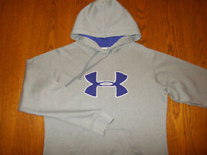 UNDER ARMOUR GRAY HOODED SWEATSHIRT WOMENS LARGE EXCELLENT CONDITION