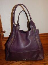 POUR LA VICTOIRE Eggplant Leather X LARGE Satchel Shoulder Shopper Purse Bag!