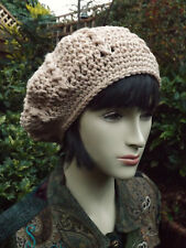b0705a73138 Crochet BERET Light Camel Quality100% Merino Wool - Handmade Hat