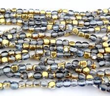 50 4x4mm Czech Glass Cube Beads: Gold/Montana Blue