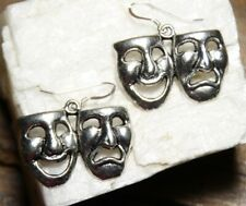 Comedy Tragedy earrings Drama Theme 925 sterling silver hooks pewter charms