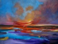 "HAWAII ARTIST,""GLOWING SUNSET"" Original oil painting signed ONE OF A KIND"