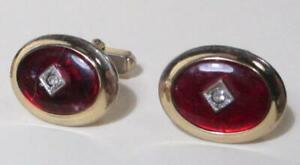 Anson Vintage Red Glass Cufflinks, Rhinestone Center Stone