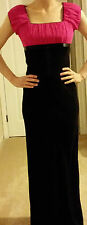 Pink and black evening dress with bow (formal dress, party, prom, dance)