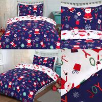 Christmas Joy Jolly SANTA Clause Duvet Cover With Pillowcases Bedding Set