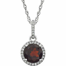 Diamond & Garnet Birthstone Necklace In 14K White Gold (1/10 ct. tw
