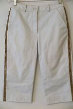 ST. JOHN EVENING BY MARIE GRAY White Leather Side-Weave Capri Pants Size 6