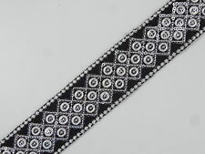 """01yd Embroidered Trim 1.50"""" wide ( Woven Border Sew Jacquard Ribbon ) T345"""