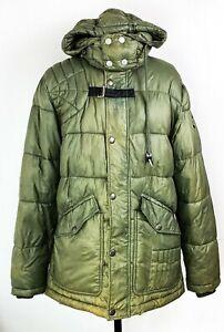 Diesel Mens Khaki Hooded Puffer Jacket Modern Winter Size S