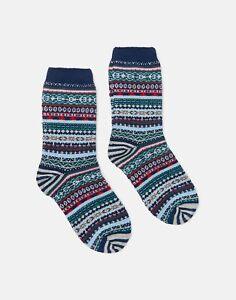 Joules Womens Lucille Fairisle Boot Socks - Navy Fairisle - Adult 4-8