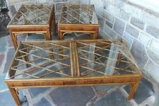 Vintage Rattan Wicker Coffee and 2 Side Tables Furniture Group