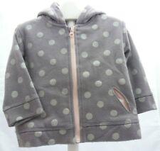 Kiabi sweat zippé gris à pois argenté mat  à capuche bébé fille 9 mois
