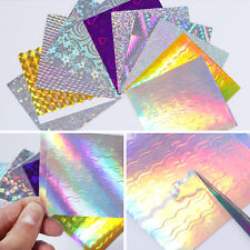 11 Sheets BORN PRETTY Holo Nail Foils 3D Nail Stickers Wave Line Candy Decals