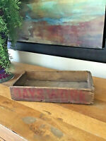 Antique Rustic Primitive Wood Desk Box Finger Joints MARKED DAY WORK 13 x 7