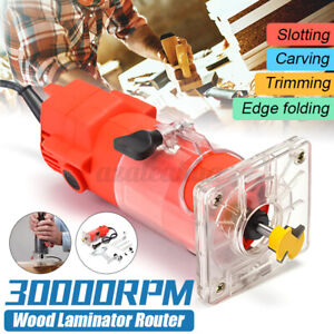 300W 30000RPM Electric Hand Trimmer 1/4'' Wood Laminate Palm Router Joiner Tool
