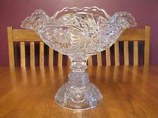 Gorgeous Rare Vintage Imperial Glass Hobstar Clear Footed Deep Orange Bowl